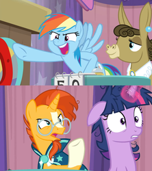 Size: 1360x1533 | Tagged: safe, edit, edited screencap, screencap, matilda, rainbow dash, sunburst, twilight sparkle, alicorn, a trivial pursuit, spoiler:s09e16, angry, bell, comic, curtains, floppy ears, frazzled, messy mane, notepad, podium, pointing, screencap comic, table, twilight sparkle (alicorn), upset