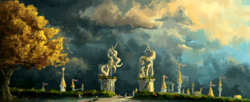 Size: 2660x1080 | Tagged: safe, artist:plainoasis, pony, autumn, background pony, cloud, digital painting, park, scenery, scenery porn, sky, statue, tree