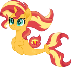 Size: 1575x1500 | Tagged: alicorn, alicornified, artist:cloudyglow, female, race swap, safe, seaponified, seapony (g4), shimmercorn, simple background, smiling, solo, species swap, sunset shimmer, transparent background