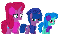 Size: 1920x1080 | Tagged: artist:徐詩珮, base used, clothes, earmuffs, female, half-siblings, hat, magical lesbian spawn, mare, my little pony: the movie, next generation, oc, oc:betty pop, oc:spring legrt, oc:storm lightning, offspring, parent:glitter drops, parents:glittershadow, parent:spring rain, parents:springdrops, parents:springshadow, parents:springshadowdrops, parent:tempest shadow, pony, safe, scarf, siblings, simple background, sisters, snow, transparent background, unicorn, vector, winter