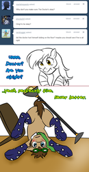 Size: 780x1502 | Tagged: artist:jitterbugjive, ask, clothes, derpy hooves, doctor whooves, featureless crotch, goggles, lamp, lovestruck derpy, necktie, piledriver, pony, safe, socks, table, time turner, tumblr