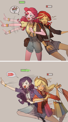 Size: 1493x2644 | Tagged: safe, artist:tcn1205, applejack, pinkie pie, rarity, sunset shimmer, equestria girls, battery, clothes, cute, denim shorts, diapinkes, dress, female, food, high heels, ice cream, jackabetes, lesbian, raribetes, rarijack, running, running in place, sale, shimmerbetes, shipping, shoes, shopping, shorts, skirt, sunsetpie