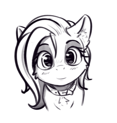 Size: 1625x1706 | Tagged: artist:alcor, blushing, bust, chest fluff, choker, chokershy, collar, cute, ear fluff, female, fluttershy, grayscale, looking at you, mare, monochrome, pegasus, pony, portrait, precious, safe, smiling, solo, stray strand, sweet dreams fuel