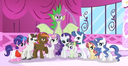 Size: 4505x2341 | Tagged: artist:velveagicsentryyt, button mash, cookie crumbles, cousins, dracony, dragon, female, filly, half-siblings, hondo flanks, hybrid, interspecies offspring, male, mare, oc, oc:burnity, oc:sky city, oc:spectrum lights, oc:strawberlly, offspring, older, older spike, parent:button mash, parent:fancypants, parent:rarity, parent:spike, parents:raripants, parents:sparity, parents:sweetiemash, parent:sweetie belle, pony, rarity, safe, shipping, sparity, spike, stallion, straight, sweetie belle, sweetiemash, unicorn, winged spike