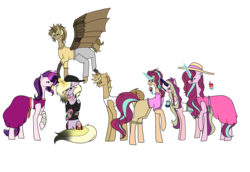 Size: 8220x5669 | Tagged: safe, artist:icey-wicey-1517, artist:moonlight0shadow0, color edit, edit, dinky hooves, oc, oc:clockwork (ice1517), oc:dawn light (ice1517), oc:dusk fire (ice1517), oc:evening glitter, oc:shadow shine, oc:tinker (ice1517), cyborg, earth pony, pegasus, pony, unicorn, icey-verse, absurd resolution, amputee, artificial wings, augmented, blushing, brother and sister, clothes, collaboration, colored, crossed arms, cup, dress, drink, ear piercing, earring, female, flying, food, glasses, glowing horn, hat, horn, ice cream, ice cream cone, implied gay, implied shipping, jewelry, licking, magical lesbian spawn, male, mare, midriff, nose piercing, nose ring, offspring, pants, parent:derpy hooves, parent:doctor whooves, parent:starlight glimmer, parent:sunset shimmer, parents:doctorderpy, parents:shimmerglimmer, piercing, polo shirt, popsicle, prosthetic leg, prosthetic limb, prosthetic wing, prosthetics, raised hoof, raised leg, shirt, shorts, siblings, simple background, sisters, sitting, snake bits, stars, summer, sun hat, sundress, sunglasses, t-shirt, tanktop, tattoo, tongue out, transparent background, twins, wall of tags, wings