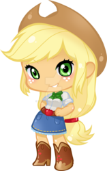 Size: 1024x1633 | Tagged: applejack, artist:yuuabyss, boots, chibi, clothes, cowboy boots, cowboy hat, deviantart watermark, equestria girls, female, hands on hip, hat, obtrusive watermark, safe, shoes, simple background, skirt, smiling, solo, transparent background, watermark