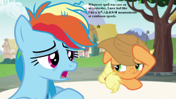Size: 1280x720 | Tagged: applejack, applejack's hat, cowboy hat, edit, edited screencap, every little thing she does, grawlixes, hat, headache, pain star, pony, rainbow dash, safe, screencap, speech
