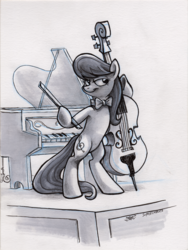 Size: 1800x2400 | Tagged: artist:spainfischer, bedroom eyes, bow, cello, earth pony, lidded eyes, musical instrument, octavia melody, piano, pony, safe, smiling, standing, traditional art