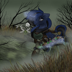 Size: 2500x2500 | Tagged: alicorn, alicorn oc, artificial alicorn, artist:devorierdeos, bloatsprite, blue alicorn (fo:e), clothes, dead tree, energy weapon, fallout equestria, fanfic, fanfic art, female, floppy ears, fog, glowing horn, gun, hooves, horn, levitation, magic, magical energy weapon, mare, oc, oc only, pipbuck, plasma rifle, pony, raised hoof, safe, scar, solo, telekinesis, tree, vault suit, weapon, wings