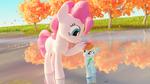 Size: 2880x1620 | Tagged: safe, artist:ashwilljones, pinkie pie, rainbow dash, pony, 3d, blender, lake, size difference, smol, smoldash