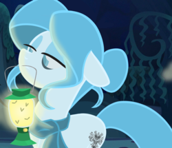 Size: 835x719 | Tagged: artist:herfaithfulstudent, clothes, disney, earth pony, ghost, ghost pony, lantern, oc, oc:memento mori, oc only, safe, scarf, solo, the haunted mansion