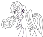 Size: 1476x1265 | Tagged: safe, artist:cowsrtasty, twilight sparkle, alicorn, pony, the beginning of the end, female, glowing horn, horn, hyperventilating, lineart, magic, mare, panic, paper bag, solo, telekinesis, twilight sparkle (alicorn), twilighting