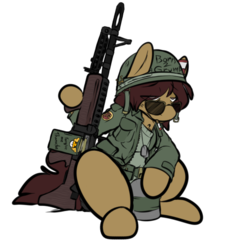 Size: 498x539 | Tagged: army helmet, artist:cantershirecommons, cigarette, clothes, costume, dog tags, gun, helmet, long sleeves, m60, machine gun, male, military uniform, nightmare night costume, oc, oc only, oc:timeline, pony, safe, simple background, sitting, solo, stallion, tired, transparent background, weapon