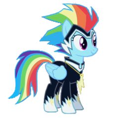 Size: 758x720 | Tagged: background removed, clothes, costume, edit, edited screencap, female, jewelry, mare, necklace, not a vector, pegasus, pony, power ponies, rainbow dash, safe, screencap, simple background, smiling, solo, transparent background, zapp