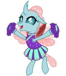 Size: 2800x3200   Tagged: safe, artist:cheezedoodle96, ocellus, changedling, changeling, 2 4 6 greaaat, .svg available, cheering, cheerleader, cheerleader ocellus, cheerleader outfit, clothes, cute, diaocelles, female, flying, looking at you, open mouth, pleated skirt, pom pom, simple background, skirt, smiling, solo, svg, transparent background, vector