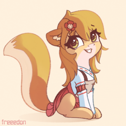 Size: 2000x2000 | Tagged: safe, artist:freeedon, earth pony, fox, fox pony, pony, adorable face, anime, apron, clothes, crossover, cute, dress, eyelashes, female, flower, fox ears, fox tail, god tier, hairpin, happy, japanese, kitsune, looking, looking back, mare, nostrils, open mouth, ponified, senko-san, shirt, signature, sitting, skirt, solo, teeth, text, the helpful fox senko-san, this will end in happiness, this will end with happiness, too cute, waifu
