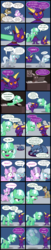 Size: 2000x9847 | Tagged: safe, artist:magerblutooth, diamond tiara, filthy rich, silver spoon, oc, oc:aunt spoiled, oc:dazzle, oc:il, oc:imperius, oc:peal, cat, dog, earth pony, imp, pony, comic:diamond and dazzle, bubble, coffee mug, comic, computer, employee of the month, flashback, laptop computer, mug, poster