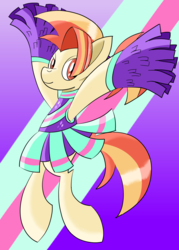 Size: 1500x2100 | Tagged: 2 4 6 greaaat, artist:notadeliciouspotato, bipedal, cheerleader, cheerleader outfit, clothes, cute, earth pony, female, mare, pleated skirt, pom pom, pony, ponytail, safe, shimmy shake, skirt, skirt lift, smiling, solo, spoiler:s09e15