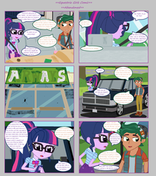 Size: 1808x2039 | Tagged: artist:thomaszoey3000, car, clothes, comic:abandoned, equestria girls, equestria girls series, female, geode of telekinesis, glasses, magical geodes, male, ponytail, safe, sci-twi, shipping, shoes, skirt, straight, timber spruce, timbertwi, twilight sparkle