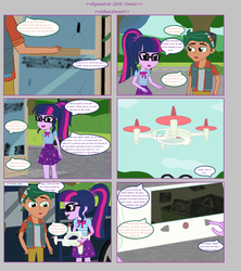 Size: 1808x2039 | Tagged: artist:thomaszoey3000, clothes, comic, comic:abandoned, drone, equestria girls, equestria girls series, female, geode of telekinesis, glasses, magical geodes, male, ponytail, safe, sci-twi, shipping, skirt, sky, straight, timber spruce, timbertwi, twilight sparkle
