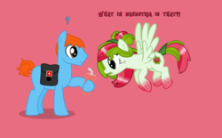 Size: 3000x1855 | Tagged: artist:pilot231, curious, earth pony, earth pony oc, freckles, gradient hooves, icee, oc, oc only, oc:pilot231, oc:watermelana, pegasus, pegasus oc, pony, question mark, saddle bag, safe, text, vector