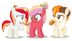Size: 1149x659 | Tagged: safe, artist:ipandacakes, oc, oc only, oc:fire starter, oc:gala blossom, oc:solar flare, earth pony, pegasus, pony, unicorn, bow, female, filly, hair bow, offspring, parent:big macintosh, parent:cheerilee, parent:fast clip, parent:fire streak, parent:spitfire, parent:sunset shimmer, parents:cheerimac, parents:sunsetstreak, simple background, transparent background