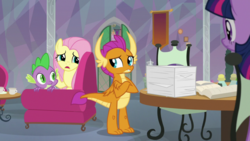 Size: 1920x1080 | Tagged: fluttershy, safe, screencap, smolder, spike, spoiler:s09e09, sweet and smoky, twilight sparkle