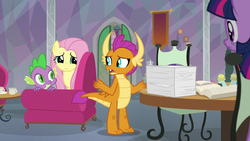 Size: 1280x720 | Tagged: fluttershy, safe, screencap, smolder, spike, spoiler:s09e09, sweet and smoky, twilight sparkle