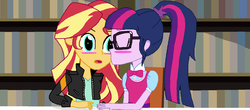 Size: 1600x706 | Tagged: safe, artist:thomaszoey3000, sci-twi, sunset shimmer, twilight sparkle, fanfic:rays of sunlight, equestria girls, blushing, bookshelf, bowtie, chair, clothes, eyes closed, fanfic, fanfic art, fanfic in the description, female, glasses, jacket, kiss on the cheek, kissing, leather jacket, lesbian, library, ponytail, scitwishimmer, shipping, sunsetsparkle, surprise kiss, surprised