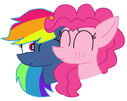 Size: 1356x1080 | Tagged: artist:徐詩珮, evil pie hater dash, female, kissing, lesbian, pinkiedash, pinkiehater, pinkie pie, pony, rainbow dash, safe, secrets and pies, shipping, simple background, transparent background, vector