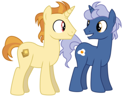 Size: 6277x5000   Tagged: safe, artist:dragonchaser123, golden crust, midnight snack (character), pony, unicorn, a trivial pursuit, absurd resolution, background pony, duo, friendship student, male, simple background, smiling, stallion, transparent background, vector