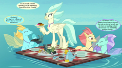 Size: 1152x648 | Tagged: background hippogriff, background sea pony, caviar, cropped, cup, dialogue, edit, edited screencap, food, hippogriff, implied princess skystar, implied silverstream, jewelry, kelp, necklace, ocean, picnic, plate, safe, screencap, seapony (g4), speech bubble, surf and/or turf, sushi, teacup, teapot