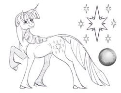 Size: 3300x2550 | Tagged: safe, artist:will-owl-the-wisp, twilight sparkle, pony, unicorn, cloven hooves, female, lineart, mare, monochrome, raised hoof, sketch, solo, unicorn twilight, unshorn fetlocks