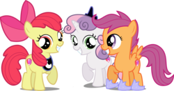 Size: 4016x2122 | Tagged: accessory swap, apple bloom, artist:emper24, artist:fallingcomets, artist:loaded--dice, bow, crown, cutie mark, cutie mark crusaders, earth pony, edit, editor:slayerbvc, female, filly, grin, hair bow, hoof shoes, jewelry, luna's crown, pegasus, peytral, raised hoof, regalia, safe, scootaloo, simple background, smiling, sweetie belle, the cmc's cutie marks, transparent background, unicorn, vector, vector edit