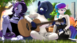 Size: 1920x1080 | Tagged: 3d, anthro, artist:anthroponiessfm, clothes, cute, cute face, dress, female, females only, glasses, guitar, heterochromia, looking at each other, musical instrument, oc, oc:aurora starling, oc:midnight music, oc:raven storm, park, picnic, plantigrade anthro, playing, safe, source filmmaker