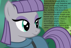 Size: 1050x720 | Tagged: cropped, edit, edited screencap, for science, maud pie, pony, promethium, rock solid friendship, safe, screencap, smiling, speech, that pony sure does love rocks, when she smiles