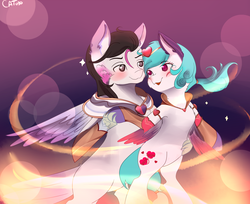 Size: 2995x2445 | Tagged: caption, clothes, cosplay, costume, couple, female, hippogriff, hug, image macro, in love, league of legends, male, oc, pegasus, pony, safe, text