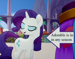 Size: 546x429 | Tagged: arrow, bow, canterlot, captain obvious, cropped, cute, edit, edited screencap, my little pony: the movie, raribetes, rarity, safe, screencap, smiling, text