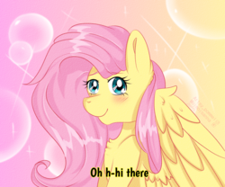 Size: 4088x3406 | Tagged: safe, artist:mojmojsanna, fluttershy, pegasus, pony, 90s anime, abstract background, anime style, blushing, bust, caption, chest fluff, dialogue, female, looking at you, mare, portrait, smiling, solo, spread wings, subtitles, three quarter view, wings