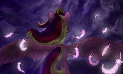 Size: 1280x767 | Tagged: 3ds, artist:metanagon, cloud, digital painting, feather, from behind, princess cadance, safe, signature, solo, spread wings, wings