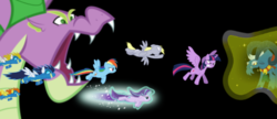 Size: 495x213 | Tagged: safe, blaze, derpy hooves, grogar, rainbow dash, soarin', spike, starlight glimmer, surprise, twilight sparkle, alicorn, dragon, pegasus, pony, unicorn, angry, clothes, end of ponies, fake, fake screencap, faker than a three dollar bill, flying, glowing horn, horn, magic, magic aura, ram, spikezilla, telekinesis, twilight sparkle (alicorn), uniform, vector, wonderbolts uniform