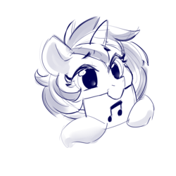 Size: 2000x2000   Tagged: safe, artist:dimfann, dj pon-3, vinyl scratch, pony, unicorn, bust, cute, female, monochrome, mouth hold, musical instrument, portrait, simple background, sketch, solo, white background
