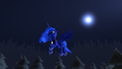Size: 1920x1080 | Tagged: 3d, alicorn, artist needed, forest, pony, princess luna, safe, solo, source filmmaker