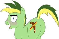 Size: 1106x723 | Tagged: artist:didgereethebrony, base used, blushing, butt, cutie mark, missing wing, oc, oc:didgeree, plot, pony, rump, safe, simple background, solo, transparent background