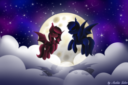 Size: 4500x3000 | Tagged: artist:aselita selter, bat pony, cloud, moon, night, oc, oc:aselita selter, oc:illidan moon, oc only, pony, romantic, safe, shipping, shooting star, solo, stars