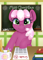Size: 4208x5952 | Tagged: safe, artist:partylikeanartist, cheerilee, earth pony, pony, absurd resolution, bipedal, book, chalk, chalkboard, cheeribetes, classroom, cute, desk, female, looking at you, love me cheerilee, mug, pencil, ponyville schoolhouse, print, school, smiling, solo