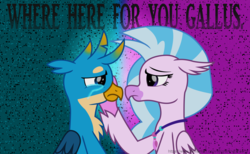 Size: 6340x3900 | Tagged: artist:ejlightning007arts, crying, female, gallstream, gallus, griffon, hand on cheek, hippogriff, implied student six, jewelry, male, misspelling, necklace, sad, safe, shipping, silverstream, straight, support
