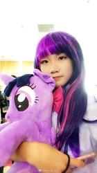 Size: 440x783   Tagged: safe, twilight sparkle, alicorn, human, equestria girls, beijing, china, china ponycon, female, irl, irl human, photo, plushie, twilight sparkle (alicorn)