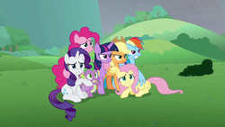 Size: 1920x1080 | Tagged: safe, screencap, applejack, fluttershy, pinkie pie, rainbow dash, rarity, spike, twilight sparkle, alicorn, dragon, earth pony, pegasus, pony, unicorn, the ending of the end, leak, best friends, cutie mark, female, final battle, folded wings, freckles, glare, gritted teeth, group hug, hug, mane seven, mane six, mare, nopony is amused, raised hoof, series finale, the end, twilight sparkle (alicorn), winged spike, winghug, wings, worried