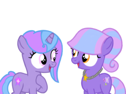Size: 2732x2048 | Tagged: artist:turnaboutart, base used, earth pony, female, jewelry, magical lesbian spawn, necklace, oc, oc:lilac glow, oc only, oc:starry twinkle, parent:lemon hearts, parents:lemonlight, parent:twilight sparkle, pearl necklace, pendant, pony, ponytail, safe, siblings, simple background, sisters, talking, transparent background, twins, twin sisters, unicorn